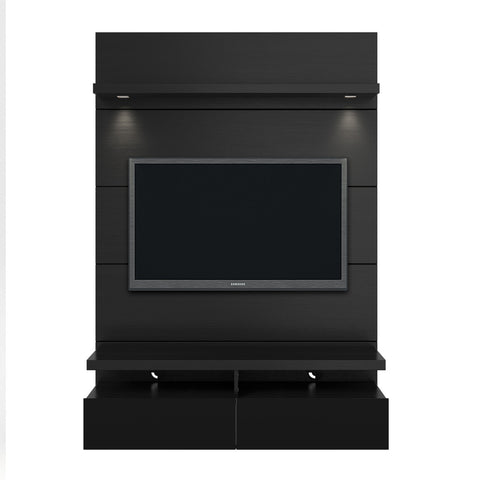 Manhattan Comfort - Cabrini 1.2 Floating Wall Theater Entertainment Center in Black Gloss and Black Matte