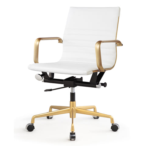 Jossio - Due Office Chair in White and Gold