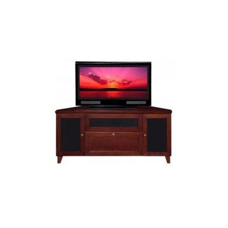 "Furnitech - 61"" Shaker TV Stand, Media Console for Flat Screen and Audio Video Installations with Brazilian Cherry Veneers and Solids in a Dark Cherry Finish"