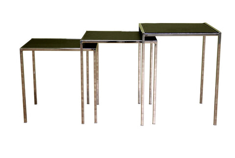 Baxton - Deo Black Leather Nesting Table