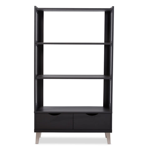 Baxton - Kalien Modern and Contemporary Dark Brown Wood Leaning Bookcase with Display Shelves and Two Drawers