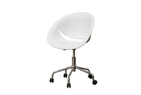 Baxton - Justina White Molded Plastic Modern Swivel Office Chair