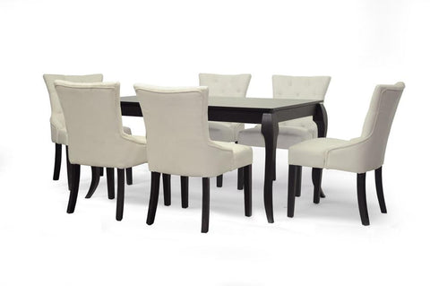 Baxton - Epperton Black Wood 7-Piece Modern Dining Set