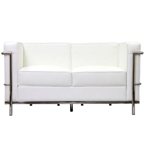 Modway - LC2 Leather Loveseat in White