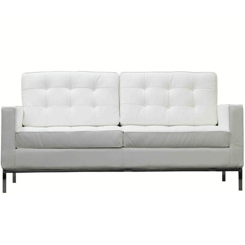 Modway - Loft Leather Loveseat in White