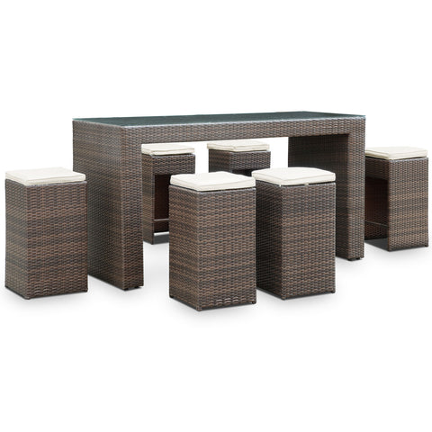 Modway - Cubed 7 Piece Pub Set in Brown White