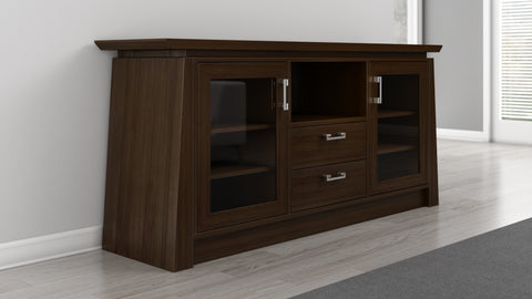 "Furnitech - 70"" Contemporary Asian TV Stand, Media Console for Flat Screen and Audio Video Installations with Brazilian Cherry Veneers and Solids in a Chocolate Finish"