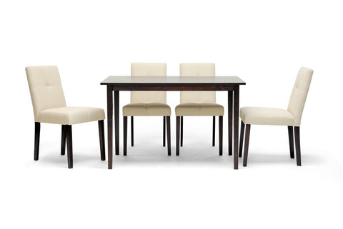 Baxton - Elsa Brown Wood 5-Piece Modern Dining Set