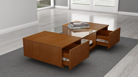 "Furnitech - 53"" Sleek Contemporary Coffee Table in a Light Cherry Finish"