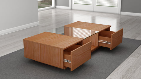 "Furnitech - 53"" Sleek Contemporary Coffee Table in a Natural Cherry Finish"