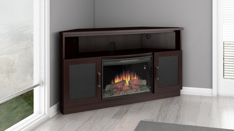 "Furnitech - 60"" Contemporary TV Corner Console with 25"" Curved Electric Fireplace in a Wenge Finish"