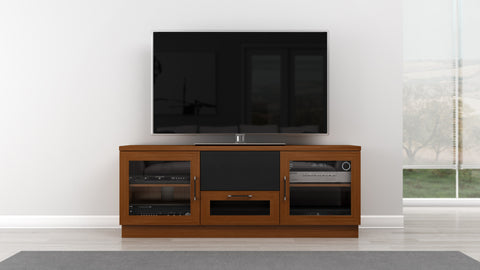 "Furnitech - 60"" Contemporary  TV Stand Media Console for Flat Screen and Audio Video Installations in a Light Cherry Finish"