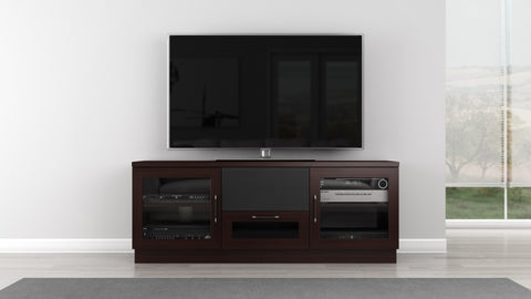 "Furnitech - 60"" Contemporary  TV Stand Media Console for Flat Screen and Audio Video Installations in a Wenge Finish"