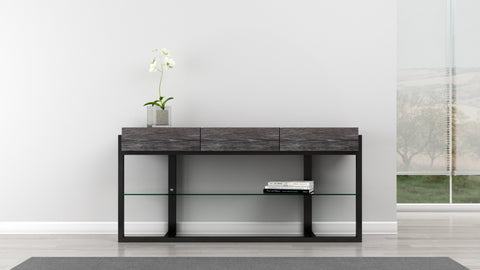 "Furnitech - 64"" Multi-Functional Contemporary Console Table with Italian Engineered Veneers and High Gloss Black Lacquer Solid Wood Frame"