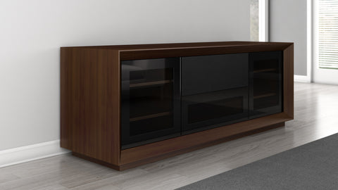 "Furnitech - 70"" Contemporary TV Stand, Media Console for Flat Screen and Audio Video Installations Featuring Contoured Edge Detail with Natural Walnut Veneers"