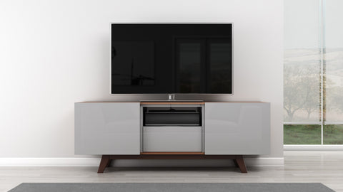 "Furnitech - 70"" Modern TV Stand Media Console for Flat Screen and Audio Video Installations with Italian Engineered Veneer Case & Grey High Gloss Lacquer"