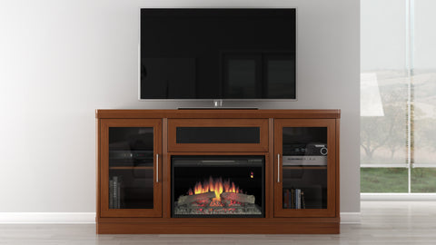 "Furnitech  - 70"" Transitional TV Console with 25"" Electric Fireplace in a Light Cherry Finish"