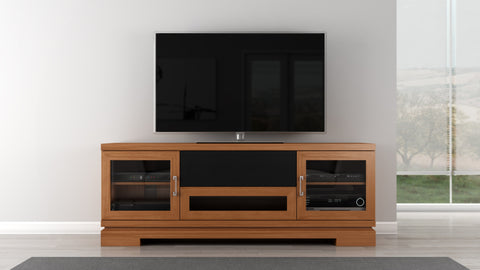 "Furnitech - 70"" Contemporary Asian TV Stand Media Console for Flat Screen and Audio Video Installations in American Cherry Wood"