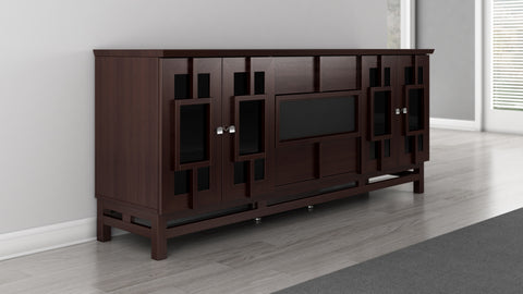 "Furnitech - 70"" Contemporary Asian TV Stand, Media Console for Flat Screen and Audio Video Installations with Brazilian Cherry Veneers and Solids in a Wenge Finish"