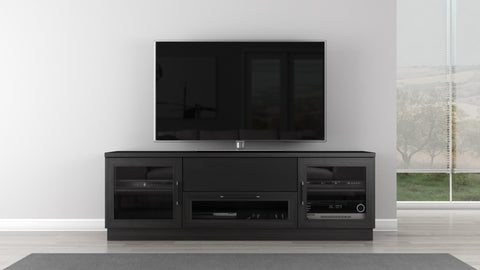 "Furnitech - 70"" Contemporary  TV Stand Media Console for Flat Screen and Audio Video Installations in a Ebony Finish"