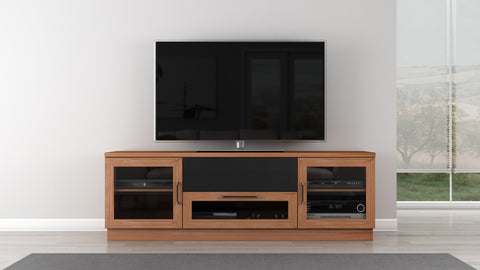 "furnitech - 70"" Contemporary  TV Stand Media Console for Flat Screen and Audio Video Installations in a Natural Cherry Finish"