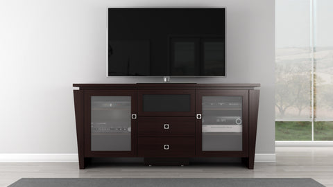 "Furnitech - 70"" Classic Modern TV Stand, Media Console for Flat Screen and Audio Video Installations with Brazilian Cherry Veneers and Solids in a Wenge Finish"