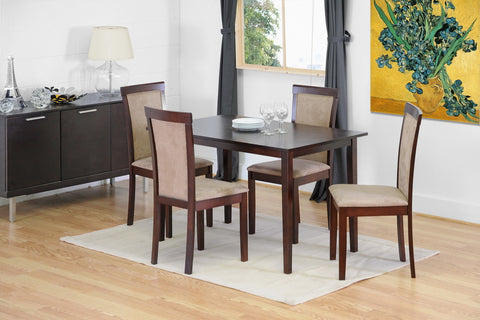 Baxton - Judy Dark Brown 5 Piece Modern Dining Set