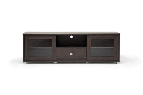 Baxton - Kathleen Wenge Wood Effect Modern TV Cabinet with Glass Doors