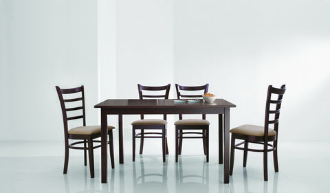 Baxton - Lanark Dark Brown 5 Piece Modern Dining Set