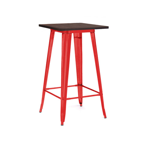 Design Lab MN - Dreux Glossy Red + Elm Wood Steel Top Bar Table 42