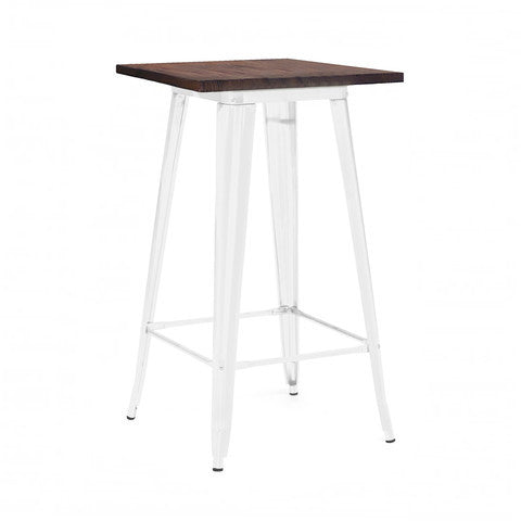 Design Lab MN - Dreux Glossy White + Elm Wood Steel Top Bar Table 42