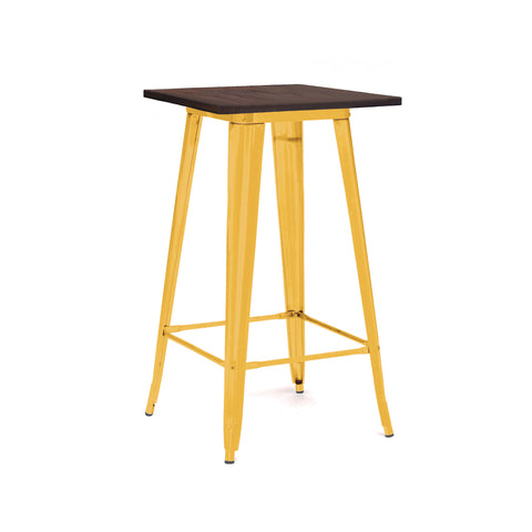 Design Lab MN - Dreux Glossy Yellow + Elm Wood Steel Top Bar Table 42