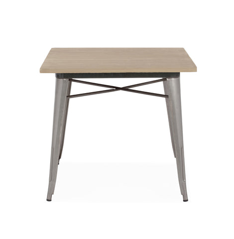 Design Lab MN -Dreux Clear Gunmetal + Light Elm Wood Top Steel Dining Table 30