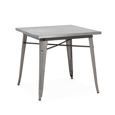 Design Lab MN - Dreux Clear Gunmetal Steel Dining Table 30""