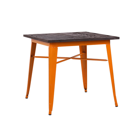 Design Lab MN - Dreux Glossy Orange + Elm Wood Top Steel Dining Table 30