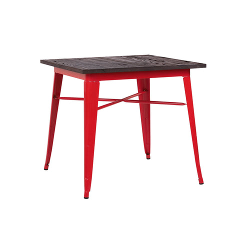 Design Lab MN - Dreux Glossy Red + Elm Wood Top Steel Dining Table 30