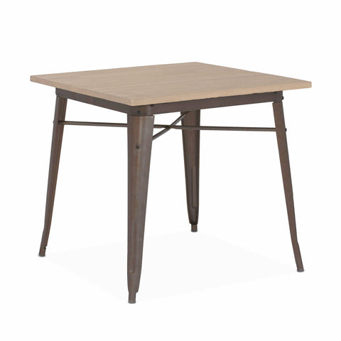 Design Lab MN -Dreux Rustic Matte + Light Elm Wood Top Steel Dining Table 30