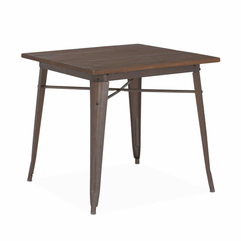 Design Lab MN -Dreux Rustic Matte + Elm Wood Top Steel Dining Table 30
