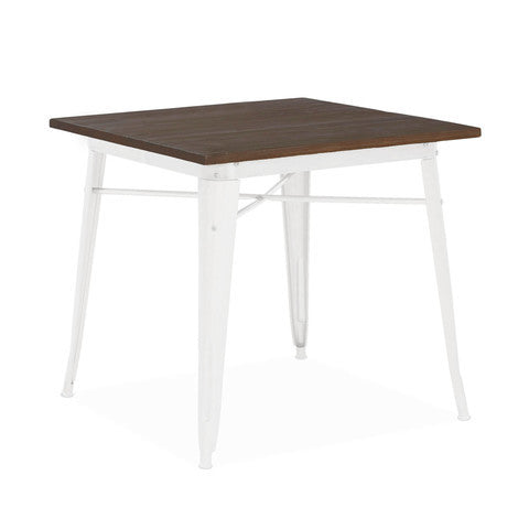 Design Lab MN - Dreux Glossy White + Elm Wood Top Steel Dining Table 30""
