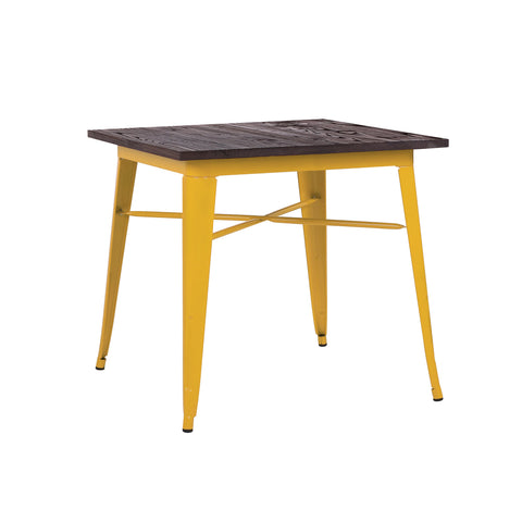 Design Lab MN - Dreux Glossy Yellow + Elm Wood Top Steel Dining Table 30