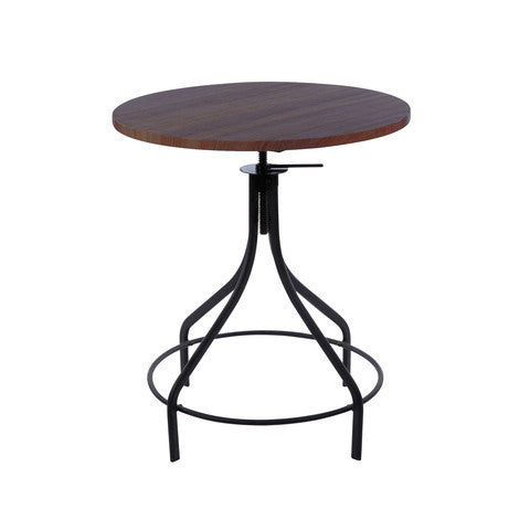 Design Lab MN - Machinist Black + Wood Top Round Adjustable Dining Table