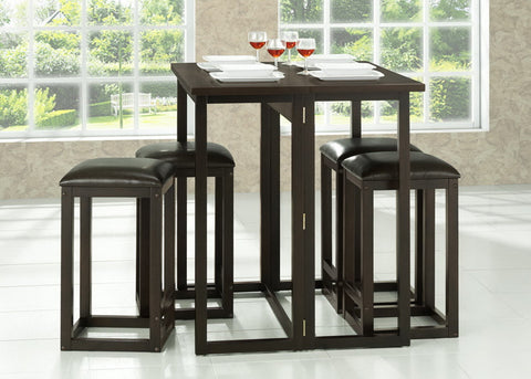 Baxton - Leeds Brown Wood Collapsible Pub Table Set