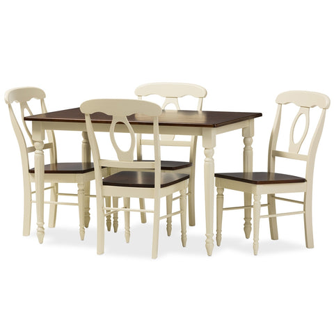 "Baxton - Napoleon French Country Cottage Buttermilk and ""Cherry"" Brown Finishing Wood 5-Piece Dining Set"