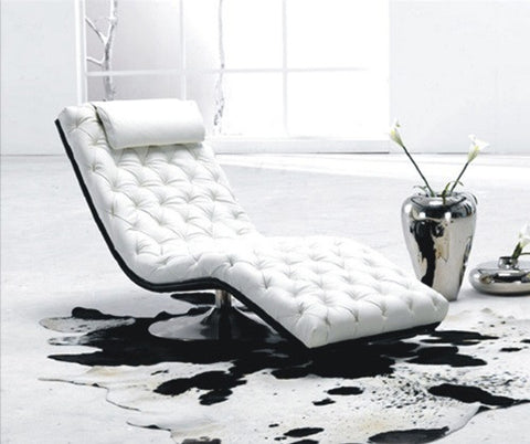 BexMod Furniture -  Migliore Sedia White Tufted Leather Lounge Chair