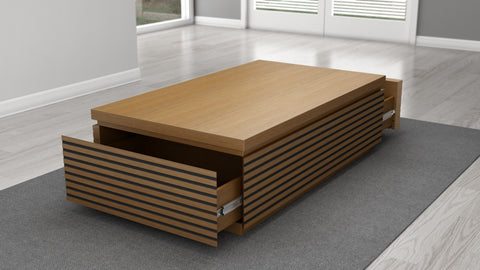 "Furnitech - 48"" Contemporary Coffee Table in a Light Cherry Finish"
