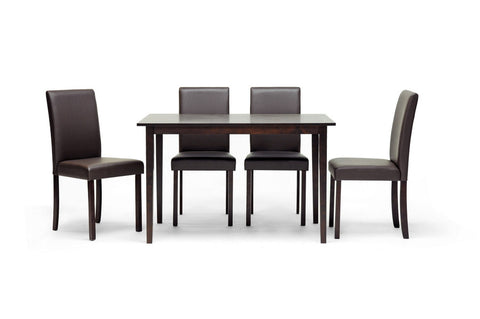 Baxton - Susan Brown Wood 5-Piece Modern Dining Set