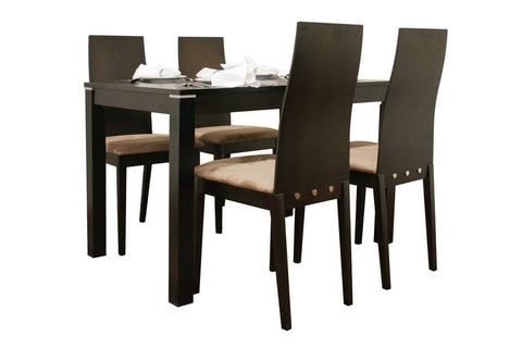 Baxton - Lambert Dark Brown 5 Piece Modern Dining Set