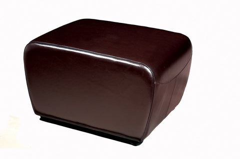Baxton - Dark Brown Full Leather Ottoman with Rounded Sides