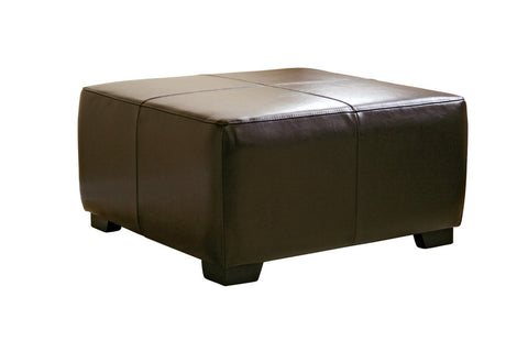 Baxton - Dark Brown Full Leather Square Ottoman Footstool