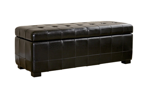 Baxton - Black Full Leather Storage Bench Ottoman with Dimples